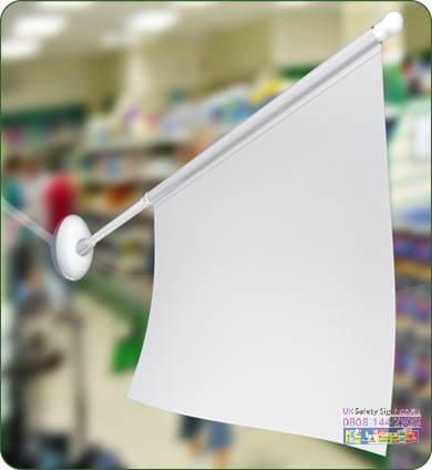 Display flag 430 x 355 x 560 mm with graphics sign