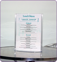 A6 overture menu holders clear sign