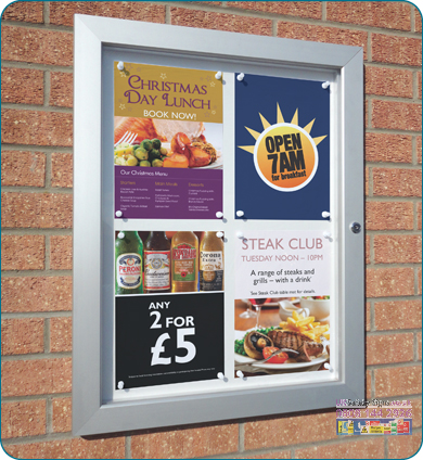 Slimlok 3 notice board 4 x A4 with graphics