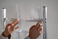 Acrylic brochure holders angled pole mounted clear A4