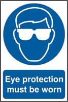 Eye protection must be worn sign 1mm rigid PVC self-adhesive backing 200 x 300mm