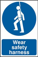 Wear safety harness sign 1mm rigid PVC self-adhesive backing 200 x 300mm