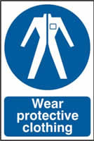Wear protective clothing sign 1mm rigid PVC self-adhesive backing 200 x 300mm