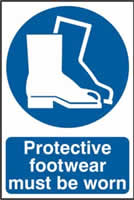 Protective footwear must be worn sign 1mm rigid PVC self-adhesive backing 200 x 300mm