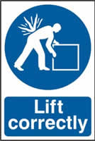 Lift correctly sign 1mm rigid PVC self-adhesive backing 200 x 300mm