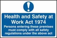 Health & Safety at Work Act 1974 sign 1mm rigid PVC self-adhesive backing 300 x 200mm