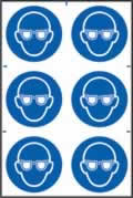 Eye protection symbols sign 1mm rigid PVC self-adhesive backing 200 x 300mm