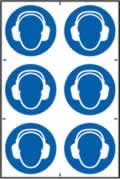Ear protection symbols sign 1mm rigid PVC self-adhesive backing 200 x 300mm