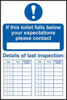 If this toilet falls below your expectations please contact sign 1mm rigid PVC self-adhesive backing 200 x 300mm
