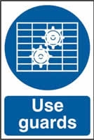 Use Guards sign 1mm rigid PVC self-adhesive backing 200 x 300mm