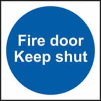 Fire door Keep shut Multipack of 10 sign 1mm rigid PVC self-adhesive backing 100 x 100mm