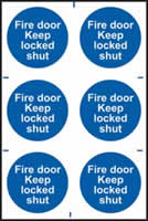 Fire door Keep locked shut sign 1mm rigid PVC self-adhesive backing 200 x 300mm