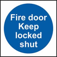 Fire door Keep locked shut Multipack of 20 self-adhesive vinyl 100 x 100mm