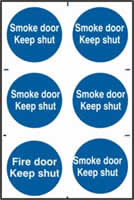 Smoke door Keep shut sign 1mm rigid PVC self-adhesive backing 200 x 300mm