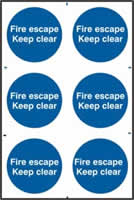 Fire escape Keep clear sign 1mm rigid PVC self-adhesive backing 200 x 300mm