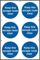 Keep this escape route clear sign 1mm rigid PVC self-adhesive backing 200 x 300mm