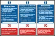 Fire action notice English / French / German sign 1mm rigid PVC self-adhesive backing 300 x 200mm