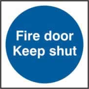 Fire door Keep shut Multipack of 10 sign 1mm rigid PVC self-adhesive backing 70 x 70mm