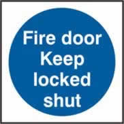 Fire door Keep locked shut Multipack of 20 sign 1mm rigid PVC self-adhesive backing 70 x 70mm
