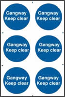 Gangway Keep clear sign 1mm rigid PVC self-adhesive backing 200 x 300mm