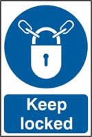 Keep locked sign 1mm rigid PVC self-adhesive backing 200 x 300mm