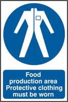 Food production area Protective clothing must be worn sign 1mm rigid PVC self-adhesive backing 200 x 300mm