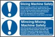 Slicing machine safety / Mincing / mixing machine safety sign 1mm rigid PVC self-adhesive backing 300 x 200mm