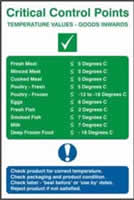 C.C.P Temperative values sign Goods inwards sign 1mm rigid PVC self-adhesive backing 200 x 300mm