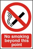 No smoking beyond this point - PVC 200 x 300mm sign 0made from 1mm rigid PVC