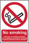 No smoking These are no smoking premises - PVC 200 x 300mm sign made from 1mm rigid PVC