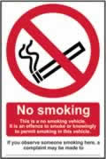 No smoking This is a no smoking vehicle - s/a vinyl - 100 x 150mm label made from self-adhesive vinyl