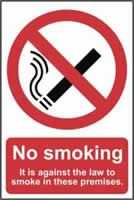 No smoking It is against the law to smoke on these premises - PVC 200 x 300mm sign made from 1mm rigid PVC