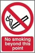 No smoking beyond this point - CLG 200 x 300mm sign window cling vinyl