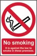 No smoking It is against the law to smoke on these premises - CLG 148 x 210mm sign window cling vinyl