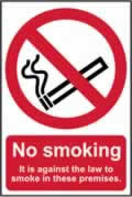 No smoking It is against the law to smoke on these premises - CLG 200 x 300mm sign window cling vinyl