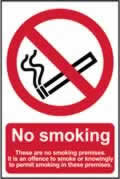 No smoking These are no smoking premises - CLG 200 x 300mm sign window cling vinyl