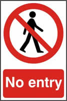 No entry - PVC 200 x 300mm sign 0made from 1mm rigid PVC