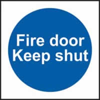 Fire door Keep shut sign 1mm rigid plastic 100 x 100mm