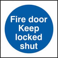 Fire door Keep locked shut sign 1mm rigid plastic 100 x 100mm