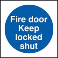 Fire door Keep locked shut self-adhesive vinyl 150 x 150mm