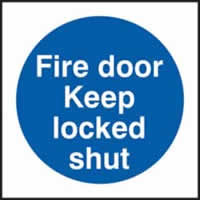 Fire door Keep locked shut sign 1mm rigid plastic 150 x 150mm