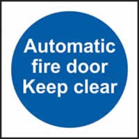 Automatic fire door Keep clear self-adhesive vinyl 100 x 100mm