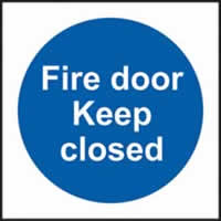 Fire door keep closed self-adhesive vinyl 100 x 100mm