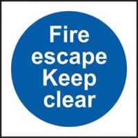 Fire escape Keep clear sign 1mm rigid plastic 100 x 100mm