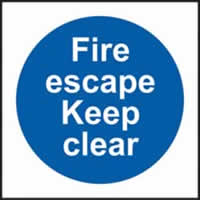 Fire escape Keep clear self-adhesive vinyl 150 x 150mm