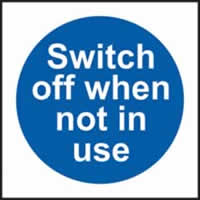 Switch off when not in use self-adhesive vinyl 100 x 100mm