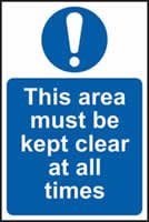This area must be kept clear at all times self-adhesive vinyl 400 x 600mm
