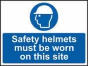 Safety helmets must be worn on this site self-adhesive vinyl 600 x 450mm