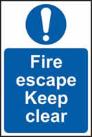 Fire escape Keep clear sign 1mm rigid plastic 200 x 300mm