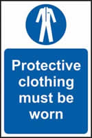 Protective clothing must be worn sign 1mm rigid plastic 200 x 300mm